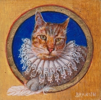 Portrait miniature de chat portant une collerette de dentelle
